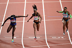 Tori Bowie of the USA, Elaine Thompson of Jamaica and <br /> Rosangela Santos of Brazil in action - Mandatory byline: Patrick Khachfe/JMP - 07966 386802 - 06/08/2017 - ATHLETICS - London Stadium - London, England - Women's 100m Final - IAAF World Championships