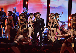Robbie Williams on stage at the BRIT Awards 2017, held at The O2 Arena, in London.<br /><br />Picture date Tuesday February 22, 2017. Picture credit should read Matt Crossick/ EMPICS Entertainment. Editorial Use Only - No Merchandise.