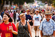 "01 SEPTEMBER 2011 - ST. PAUL, MN:  The crowd at the Minnesota state fair. The Minnesota State Fair is one of the largest state fairs in the United States. It's called ""the Great Minnesota Get Together"" and includes numerous agricultural exhibits, a vast midway with rides and games, horse shows and rodeos. Nearly two million people a year visit the fair, which is located in St. Paul.   PHOTO BY JACK KURTZ"