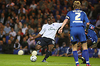 Photo: Pete Lorence.<br />Peterborough United v Everton. Carling Cup. 19/09/2006.<br />Victor Anichebe slams the ball in one goal but to no avail.