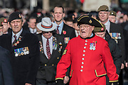 Veterans, incl Chelsea Pensioners, march past the Cenotaph and down Whitehall - Remembrance Sunday and Armistice Day commemorations fall on the same day, remembering the fallen of all conflicts but particularly the centenary of the end of World War One.