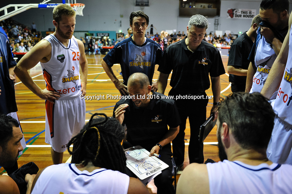 Judd Flavell Coach of the Southland Sharks talks to the team during the NBL Basketball Match, Canterbury Rams V Southland Sharks, Cowles Stadium, Christchurch, New Zealand. 25th March 2016. Copyright Photo: John Davidson / www.photosport.nz