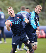 Pennyhill Park. Great Britain, Left, Dylan HARTLEY and Right, Chris ROBSHAW enjoy a smile during the England squad training at Pennyhill Park in preparation for the opening game of the 2014 Six Nations Championship France vs England.  Thursday  23/01/2014  [Mandatory Credit. Peter Spurrier/Intersport Images]