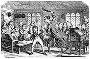February - Cutting Weather. A typical day at Dr Swishtail's Academy. George Cruikshank cartoon from 'The Comic Almanack for 1839'. Boys at their desks look on as the schoolmaster punishes a boy by flogging him with the birch. Biggest boy in class holds victim on his back. Engraving.