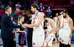 Kamil Novak of FIBA Europe and Pau Gasol of Spain congratulate at medal ceremony after placed third during basketball match between National Teams  Spain and Russia at Day 18 in 3rd place match of the FIBA EuroBasket 2017 at Sinan Erdem Dome in Istanbul, Turkey on September 17, 2017. Photo by Vid Ponikvar / Sportida