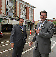 Mayor Ed Engler and Randy Eiffert Vice Chair BEDC on Main Street following the press conference announcing the purchase of the Colonial Theater in downtown Laconia.  (Karen Bobotas/for the Laconia Daily Sun)