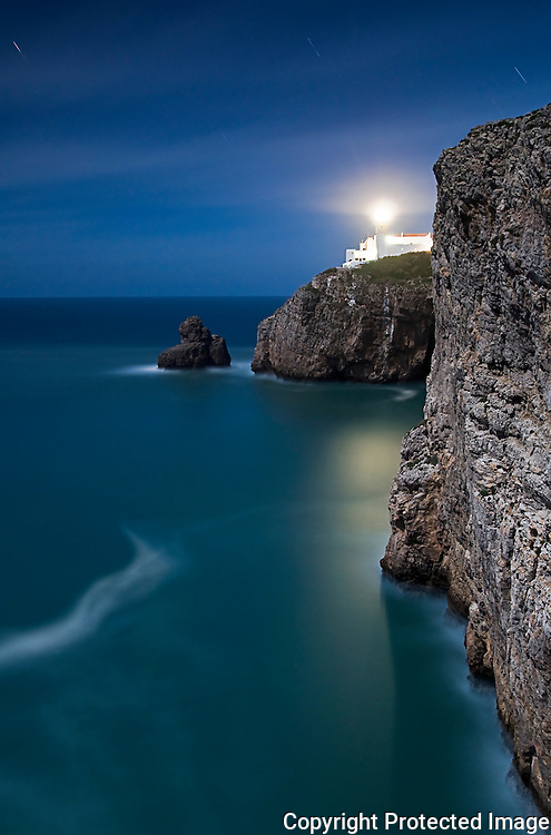 cape s. vicent, sagres, end of the world, lighthouse, most southwesterly point of europe, moonlight, long exposure.