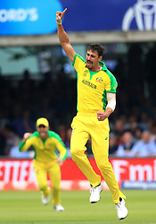 Australia's Mitchell Starc celebrates taking the wicket of England's Ben Stokes (not pictured) during the ICC Cricket World Cup group stage match at Lord's, London.