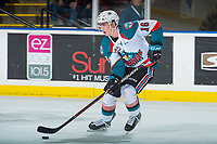 KELOWNA, CANADA - JANUARY 3: Kole Lind #16 of the Kelowna Rockets skates with the puck against the Tri-City Americans on January 3, 2017 at Prospera Place in Kelowna, British Columbia, Canada.  (Photo by Marissa Baecker/Shoot the Breeze)  *** Local Caption ***