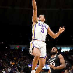 Jan 19, 2019; Baton Rouge, LA, USA; LSU Tigers guard Tremont Waters (3) shoots over South Carolina Gamecocks guard Evan Hinson (23) during the first half at the Maravich Assembly Center. Mandatory Credit: Derick E. Hingle-USA TODAY Sports