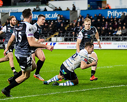 Jarrod Evans of Cardiff Blues scores his sides first try<br /> <br /> Photographer Simon King/Replay Images<br /> <br /> Guinness PRO14 Round 8 - Ospreys v Cardiff Blues - Saturday 21st December 2019 - Liberty Stadium - Swansea<br /> <br /> World Copyright © Replay Images . All rights reserved. info@replayimages.co.uk - http://replayimages.co.uk