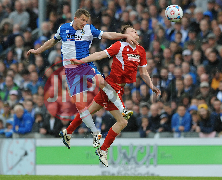 Bristol Rovers' Lee Mansell challenges for the header - Photo mandatory by-line: Dougie Allward/JMP - Mobile: 07966 386802 - 25/04/2015 - SPORT - Football - Bristol - Memorial Stadium - Bristol Rovers v Alfreton Town - Vanarama Football Conference