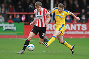 Rob Dickie and Tom Shaw during the Vanarama National League match between Cheltenham Town and Chester City at Whaddon Road, Cheltenham, England on 5 December 2015. Photo by Antony Thompson.