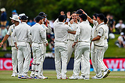 The Black Caps celebrates the catch of Tim Southee of the Black Caps to remeove Niroshan Dickwella of Sri Lanka during Day2 of the cricket test match, Black Caps v Sri Lanka, Hagley Oval, Christchurch, New Zealand, 27th December 2018.Copyright photo: John Davidson / www.photosport.nz