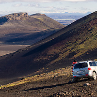 On a sunny morning we drove to the foot of Mount Hekla, one of Island's most active volcanoes. <br /> As the weather was pretty good we decided to walk all the way up to the top.