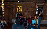 Comic Paul Landwehr on stage at the Belknap Mill Saturday evening for their Evening of Comedy hosted by Fusion.   (Karen Bobotas/for the Laconia Daily Sun)