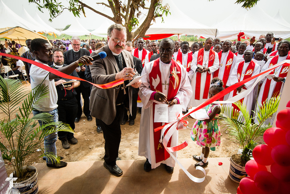 LCMS President Rev. Dr . Matthew C. Harrison and the ELCG Rt. Rev. Dr. Paul Kofi Fynn dedicate the Lutheran Theological Seminary of the Evangelical Lutheran Church of Ghana on Sunday, Feb. 2, 2014, in Greater Accra, Ghana. LCMS Communications/Erik M. Lunsford