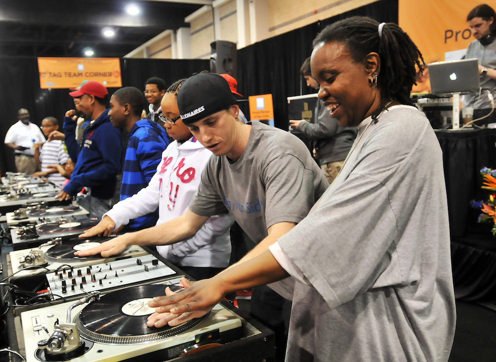 2012: Everyday Life. Participants compete in a DJ scratch battle during a CIAA fan experience event held at the Charlotte Convention Center in Charlotte, NC, on Friday, March 2, 2012.<br /> <br /> Photo by Yoshi James