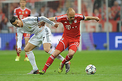 29.04.2014, Allianz Arena, Muenchen, GER, UEFA CL, FC Bayern Muenchen vs Real Madrid, Halbfinale, Ruckspiel, im Bild vl. Cristiano Ronaldo (Real Madrid) im Zweikampf mit Arjen Robben (FC Bayern Muenchen) // during the UEFA Champions League Round of 4, 2nd Leg Match between FC Bayern Munich vs Real Madrid at the Allianz Arena in Muenchen, Germany on 2014/04/29. EXPA Pictures © 2014, PhotoCredit: EXPA/ Eibner-Pressefoto/ Stuetzle<br /> <br /> *****ATTENTION - OUT of GER*****