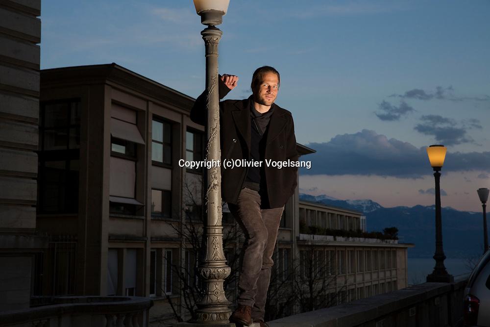 Lausanne, mars 2017. Blaise Hoffmann, écrivain. © Olivier Vogelsang
