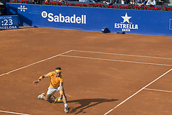 April 27, 2018 - Barcelona, Barcelona, Spain - RAFAEL NADAL reaches for the ball during a match against MARTIN KLIZAN in the Barcelona Open Banc Sabadell 2018. RAFAEL NADAL won the match 6-0 7-5. (Credit Image: © Patricia Rodrigues/via ZUMA Wire via ZUMA Wire)