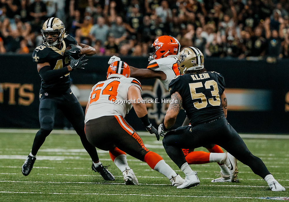 Sep 16, 2018; New Orleans, LA, USA; New Orleans Saints safety Marcus Williams (43) returns an interception against the Cleveland Browns during the fourth quarter of a game at the Mercedes-Benz Superdome. The Saints defeated the Browns 21-18. Mandatory Credit: Derick E. Hingle-USA TODAY Sports