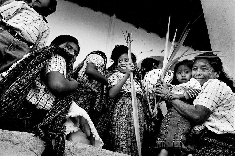 Holy Week, Santiago Atitlan. Guatemala. 1998. Thevillage gathers at the church on Palm Sunday, where Catholic and traditional Maya rituals will make up the celebrations.