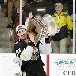 TRENTON, ON  - MAY 6,  2017: Canadian Junior Hockey League, Central Canadian Jr. &quot;A&quot; Championship. The Dudley Hewitt Cup Championship Game between The Trenton Golden Hawks and The Georgetown Raiders. Jeremy Pullara #21 of the Trenton Golden Hawks during post game celebrations. <br /> (Photo by Amy Deroche / OJHL Images)