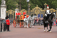 LONDON - JUNE 16: Queen Elizabeth attends Trooping The Colour, Buckingham Palace, London, UK. June 16, 2012. (photo by piQtured)
