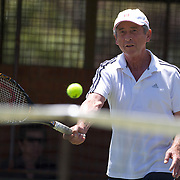 Roger Dowdeswell, Zimbabwe, in action in the 65 Mens Singles during the 2009 ITF Super-Seniors World Team and Individual Championships at Perth, Western Australia, between 2-15th November, 2009.