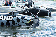 Emirates Team New Zealand port rudder  snapped off by Alinghi. Race 5, day two of the Cardiff Extreme Sailing Series Regatta. 23/8/2014