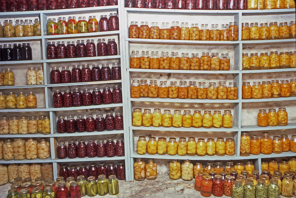 Amish house canned fruits, cellar, Lancaster, PA