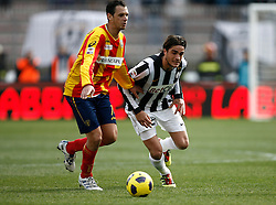 ITALY, Lecce :  Toni J Fabiano L.during the Serie A match between Lecce and Juventus at Stadio Via del Mare in Lecce on February 20, 2011. .AFP PHOTO / GIOVANNI MARINO