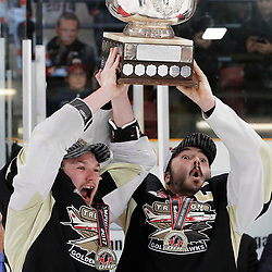 TRENTON, ON  - MAY 6,  2017: Canadian Junior Hockey League, Central Canadian Jr. &quot;A&quot; Championship. The Dudley Hewitt Cup Championship Game between The Trenton Golden Hawks and The Georgetown Raiders. Trenton Golden Hawks Co Captains Lucas Brown #28 and Josh Allan #53 presented with the Dudley Hewitt Cup. <br /> (Photo by Amy Deroche / OJHL Images)