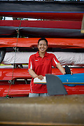Women Kayaker Yang Yali in Yanqing, where she is training for the Beijing 2008 Olympics.
