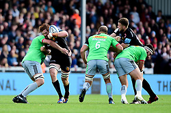 Jannes Kirsten of Exeter Chiefs is tackled by Tom Lawday of Harlequins - Mandatory by-line: Ryan Hiscott/JMP - 19/10/2019 - RUGBY - Sandy Park - Exeter, England - Exeter Chiefs v Harlequins - Gallagher Premiership Rugby