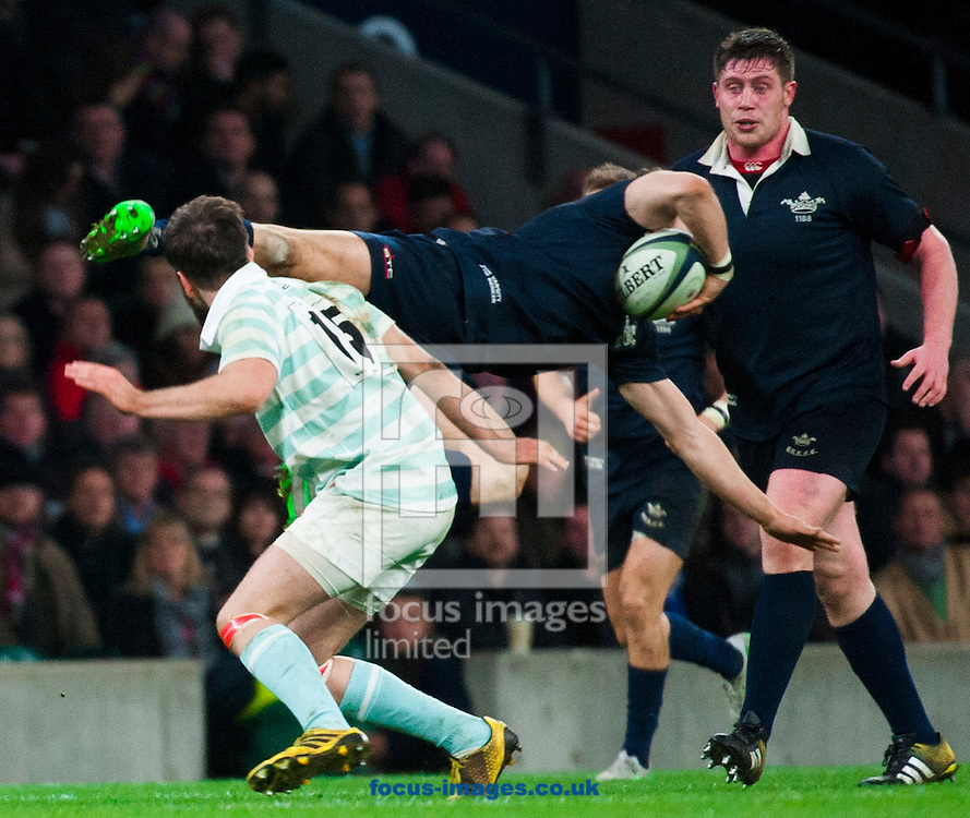 Simon Davis of Cambridge University  is sin binned in the final minutes for challenging Henry De Berker of Oxford University in the air dying minutes during the The Mens Varsity Match match at Twickenham Stadium, Twickenham<br /> Picture by Jack Megaw/Focus Images Ltd +44 7481 764811<br /> 10/12/2015