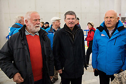Jaro Kalan, Stane Valant and Janez Kocijancic at official opening of the new Nordic centre Planica, on December 11, 2015 in Planica, Slovenia. Photo by Vid Ponikvar / Sportida