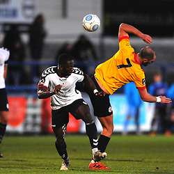 TELFORD COPYRIGHT MIKE SHERIDAN 1/12/2018 - Dan Udoh of AFC Telford battles for the ball with Adam Nowakoswski during the Vanarama Conference North fixture between AFC Telford United and Bradford Park Avenue AFC.