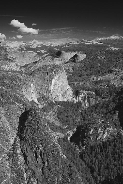 Liberty Cap - Nevada Falls - Vernal Falls - Glacier Point View - Yosemite - Black & White