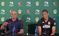 SOUTH AFRICA: JOHANNESBURG: Highlands Park head coach Owen Da Gama and the team's defender Bevan Fransman speak during the Nedbank cup press conference, Gauteng.<br /> Picture: Itumeleng English/African News Agency(ANA)<br />23.01.2019