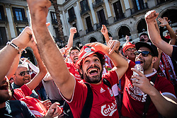 May 1, 2019 - Barcelona, Catalonia, Spain - Liverpool fans singing and jumping during May Day celebration in Barcelona before the UEFA Champions League Semi Final first leg match between Barcelona and Liverpool at the Nou Camp on May 01, 2019 in Barcelona, Spain. (Credit Image: © Pau Venteo/NurPhoto via ZUMA Press)