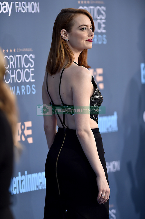 Emma Stone attends the 22nd Annual Critics' Choice Awards at Barker Hangar on December 11, 2016 in Santa Monica, Los Angeles, CA, USA. Photo By Lionel Hahn/ABACAPRESS.COM