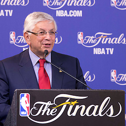 Jun 9, 2013; Miami, FL, USA; NBA commissioner David Stern speaks during the inaugural Twyman-Stokes Teammate of the Year Award press conference honoring best teammate in the NBA prior to game two of the 2013 NBA Finals at American Airlines Arena. Mandatory Credit: Derick E. Hingle-USA TODAY Sports