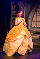 "Belle -Teghan Marie Kelly dreams of her prince during dress rehearsal for the traditional English Panto ""Beauty and the Beast"" with the Winnipesaukee Playhouse.  (Karen Bobotas/for the Laconia Daily Sun)"