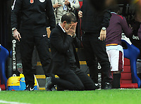 Football - 2017 / 2018 Premier League - Crystal Palace vs. West Ham United<br /> <br /> A dejected West ham manager Slaven Bilic drops to his knees as Palace score their equalising goal in the last minute of extra time at Selhurst Park.<br /> <br /> COLORSPORT/ANDREW COWIE