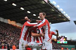 Stoke's Bojan Krkic celebrates his goal with team mates - Photo mandatory by-line: Dougie Allward/JMP - Mobile: 07966 386802 - 06/12/2014 - SPORT - Football - Stoke - Britannia Stadium - Stoke City v Arsenal - Barclays Premie League