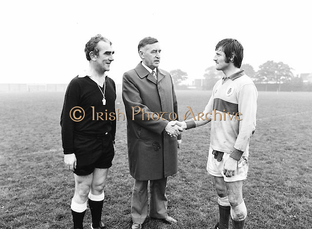 Players shake hands before the Guinness v Garda Gaelic Football Club Tournament Final on the 14th October 1979.