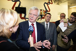 "© Licensed to London News Pictures . 22/09/2018. Bolton, UK. DAVID DAVIS back stage . Pro Brexit campaign group Leave Means Leave host a "" Save Brexit "" and "" Chuck Chequers "" rally at the University of Bolton Stadium , attended by leave-supporting politicians from a cross section of parties , including Conservative David Davis , former UKIP leader Nigel Farage and Labour's Kate Hoey . Photo credit: Joel Goodman/LNP"