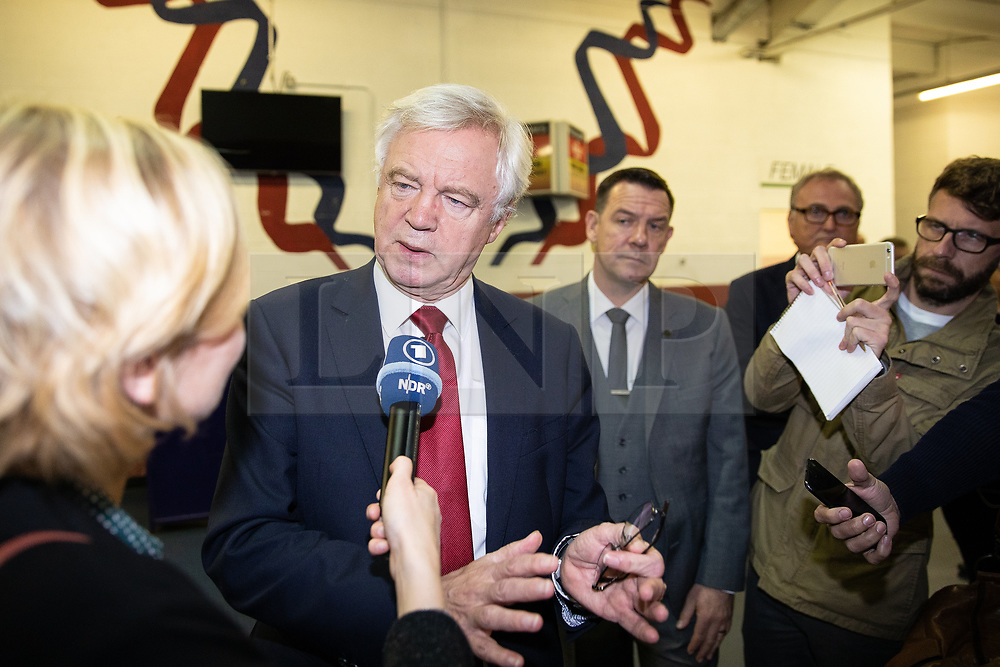 """© Licensed to London News Pictures . 22/09/2018. Bolton, UK. DAVID DAVIS back stage . Pro Brexit campaign group Leave Means Leave host a """" Save Brexit """" and """" Chuck Chequers """" rally at the University of Bolton Stadium , attended by leave-supporting politicians from a cross section of parties , including Conservative David Davis , former UKIP leader Nigel Farage and Labour's Kate Hoey . Photo credit: Joel Goodman/LNP"""